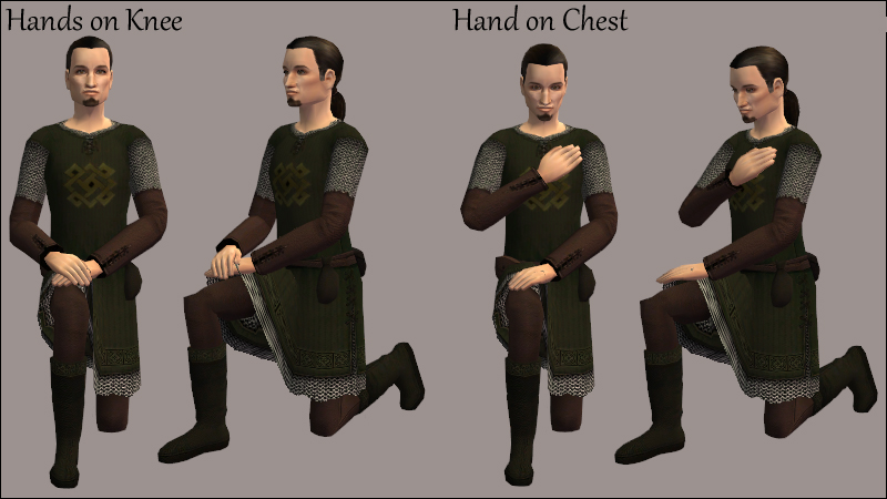 Hands on Knee; Hand on Chest